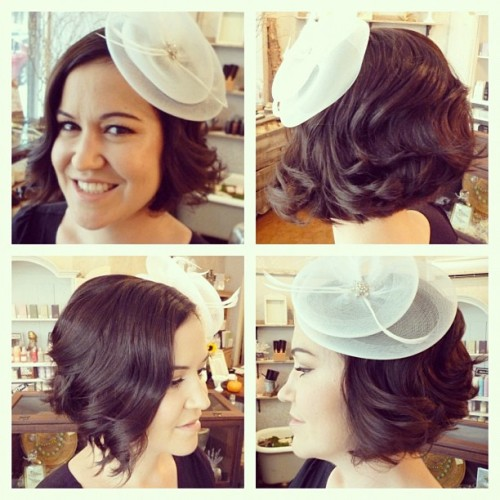 Getting married? Here's a perfect vintage short hairstyle complete with the most beautiful fastenator! Congrats Laura! (Taken with instagram)