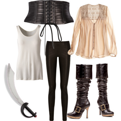 Pirate by pinksparklesurprise featuring black pirate bootsLove Sam lace top, $275Top, $20Bird by Juicy Couture stretch leather pants, $900Black pirate boots, $58Jean Paul Gaultier rib belt, $1,060Amazon.com: Pirate Sword (Silver): Toys & Games, $7.38
