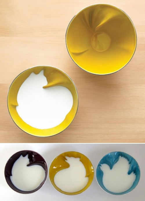 "ratherintellectualdesigns:  Breakfast bowl designs Geraldine De Beco has taken the traditional ""hidden bunny"" cereal bowl to the next level by carving clandestine critters directly into her ceramic containers. De Beco's ""Breakfast Bowls"" for Bernardaud typically retail for ~$317, but appear to be presently sold out."