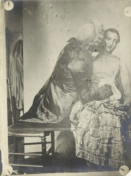tuesday-johnson:  ca. 1890-1910, [gentleman in costume embracing a mannequin], François Brunery via the Musée d'Orsay, Photographic Collections