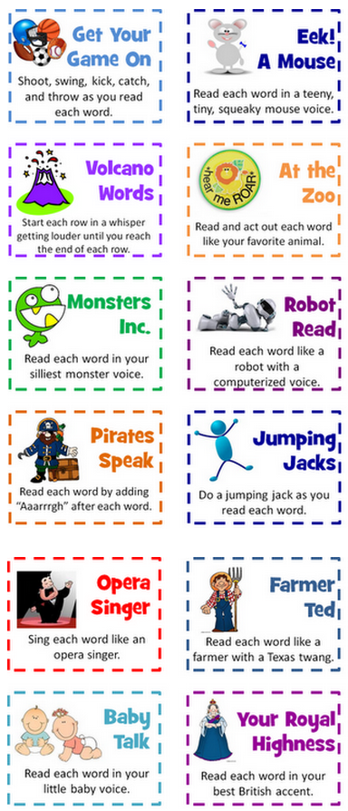 Word Chants with a twist….or an Aaarrrgh! #elemchat #spedchat #wordchants #freebies What a fab idea this is! Word chants are becoming so popular and I Love 2 Teach has created these awesome cards to make chants even more fun. Each card gives a unique way in which the chant should be done. Such as… Sing each word like an opera singer. Read each word like a robot with a computerized voice. Read each word as you pose like a statue. You get the idea. Check out I Love 2 Teach for more info and the freebie. !6 cards in all! Update: Don't miss…32 Classroom Cheers. Simply fantastic! (FREE!)  Visit my new site KB…Konnected Kids. 100+ free educational enrichment sites. Just launched 6-23-12.