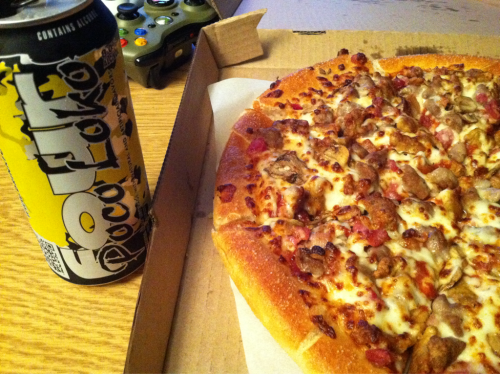 Somedays you just need a Four Loko and a pizza