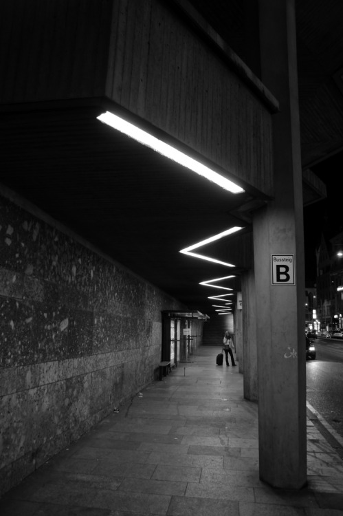 Homage to Christiane F. Underpass beneath the Dom by night, Cologne 03/10/2011.