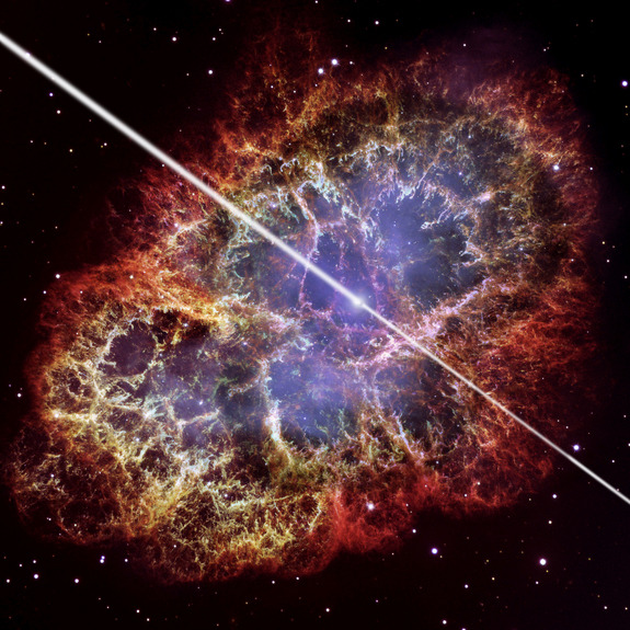 "weareallstarstuff:  'Jaw-Dropping!' Crab Nebula's Powerful Beams Shock Astronomers  When astronomers detected intense radiation pumping out of the Crab  Nebula, one of the most studied objects in space, at higher energies  than anyone thought possible, they were nothing short of stunned. The inexplicably powerful gamma-rays came from the very heart of the Crab Nebula, where an extreme object called a pulsar resides. ""It was totally not expected — it was absolutely jaw-dropping,"" Andrew  McCann, a Ph.D. candidate at McGill University in Montreal, Canada, and a  co-author of the new study, told SPACE.com. ""This is one of the hottest  targets in the sky, so people have been looking at the Crab Nebula for a  long time. Now there's a twist in the tale. High-energy rays coming from the nebula are well-known, but coming from the pulsar is something nobody expected."""