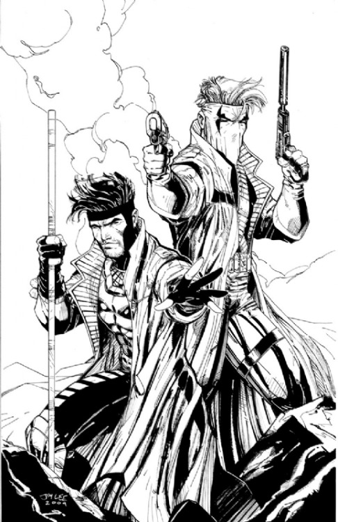 Gambit and Grifter by Jim Lee