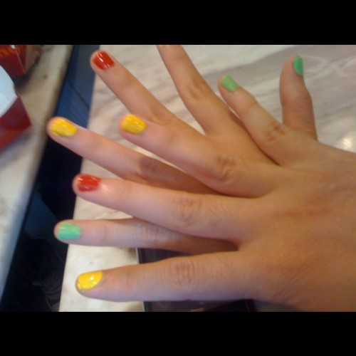Colorful nails ^^~ (Taken with instagram)