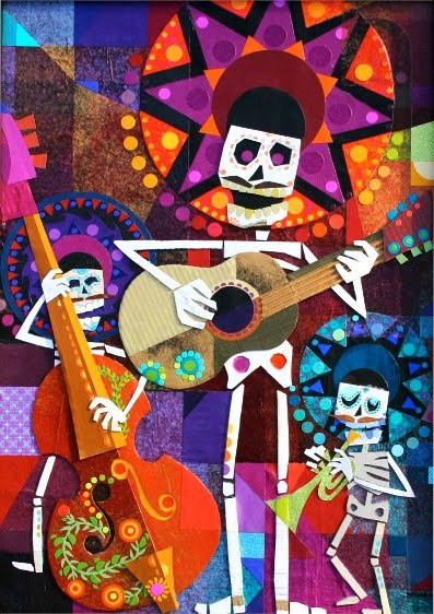 "hansma:  Day of the Dead Show Sneak Preview: Ben ButcherThe show opens tonight so this will be the last sneak preview before the grand unveiling tonight. Ben is an incredibly talented artist and I am ecstatic that he decided to join the roster of this show. Instead of hemming and hawing over what to write about him and his piece, I'll just let Mr. Butcher speak for himself:  ""Day of the Dead"" or ""Día de los Muertos"" is the Mexican holiday where family and friends gather together to remember those loved ones whom they have lost and to celebrate their lives. It takes place on November 1st and 2nd. We mostly know of this holiday from all of the brightly decorated sugar skulls and other folk art images of skeletons dancing and playing music.This is my contribution to an upcoming ""Day of the Dead"" show in Michigan. I chose to take the Mariachi band as my subject matter and intertwine the color and design elements from both the Day of the Dead celebration along with other Mexican art and design elements.This piece was created using a variety of papers as well as cardboard. There is actually a lot of white on white details that get lost in the photograph but something that I thought would add a nice texture and feel to the bones.  More of Ben on the web:blog Day of the DeadOpens October 7th7-10pmStarkweather Arts Center219 N. Main StreetRomeo, MI 48065586.752.5700"