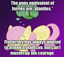 askfleurdestalker:  ask-cult-leader-fluttershy:  arborgreen:  mlp-headcanons:  I can see it now Fluttershy timidly approaching the con hotel in her plantsuit  Not. One. Word.  We're in this together now.  I'll go if Flutters goes.
