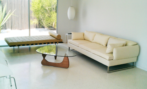 sofa positioning (tan barcalona and white leather couch)
