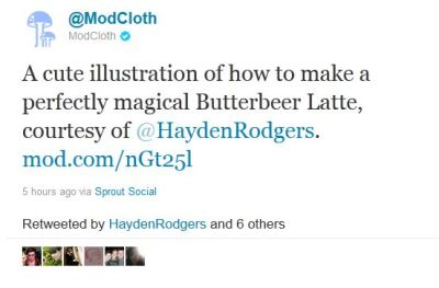 Look! Mod Cloth tweeted my Butterbeer Latte recipe!