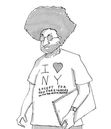 "newyorker:  Today's cartoon: ""I love NY Except…"" Reblog and tell us the one thing about NYC that you could live without.  …the freezing cold winter."