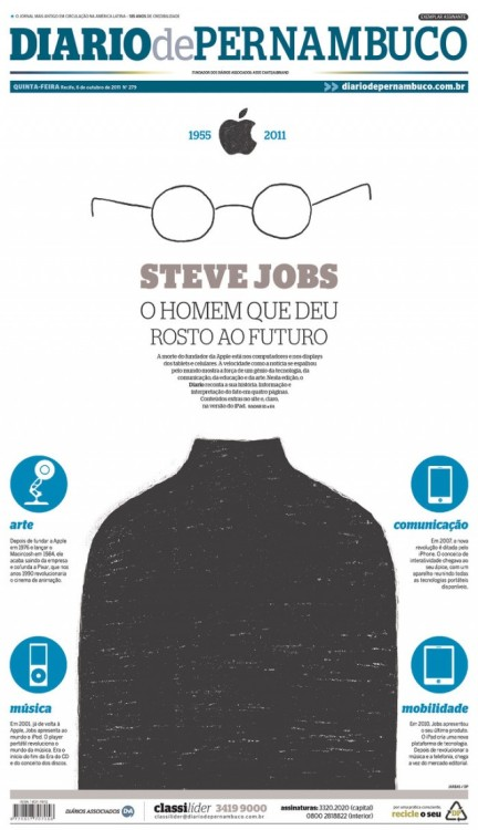 Over 100 Newspaper Front Pages Around The World Mourn Steve Jobs. This is the best one in my advice.  Clicking on image you may see the entire gallery.