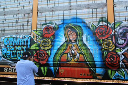"thefastlife:  barre-baby:  Virgensita <3  ""Graffiti is my religion"""