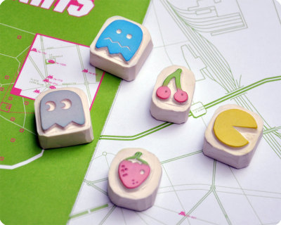 """Pacman"" Hand-carved Stamps by MemiTheRainbow"