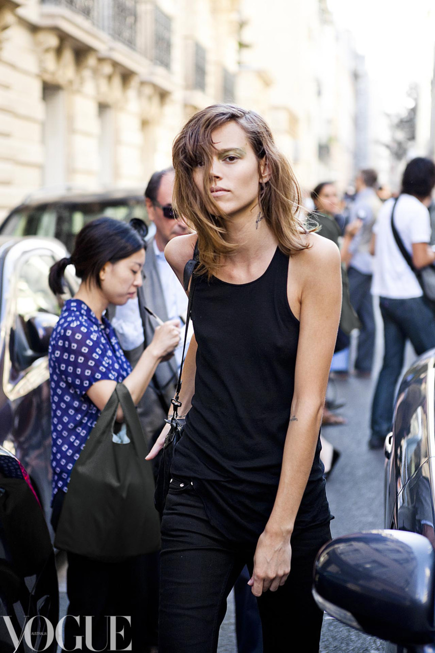 vogueaustralia:  Freja Beha Erichsen at Paris Fashion Week. See our gallery of street style from Paris Fashion Week.  Image by Candice Lake.