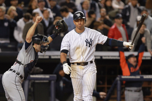 nationalpost:  Sad A-Rod. nationalpostsports:  Tigers oust Yankees in deciding gameDon Kelly and Delmon Young hit first-inning home runs, Doug Fister and the Detroit bullpen held on and the Tigers edged the New York Yankees 3-2 Thursday night to win the deciding Game 5 of the AL playoff series.Photo: Alex Avila celebrates as Alex Rodriguez strikes out for the games final out of the American League Championship Series at Yankee Stadium, Oct. 6, 2011. (Photo by Nick Laham/Getty Images)   Last out of the series two years running, A-Rod. Sad A-Rod is my favorite A-Rod. Douchebag.