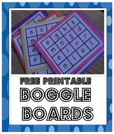 Free Printable Boggle Boards #elemchat #spedchat #literacy #centers #Boggle I saw these Boggle Boards on Pinterest and wanted to use them for a center I am creating. I tracked down these freebies to School Day Love. There are eight boards in all. What makes this even greater is that they come with answer keys. Just print the boards, glue to card stock and laminate. This is a winner for my center. School Day Love offers lots of neat ideas and printables so check it out.