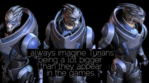 """I always imagine Turians being a lot bigger than they appear in the games."" Submitted by princesscheesecake."