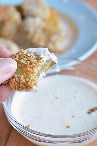 "cupcakes-for-breakfast:  Oven ""Fried"" Pickles » Pennies on a Platter  thought that said Penis on a Platter and I thought to myself, what a perfect place for a penis"