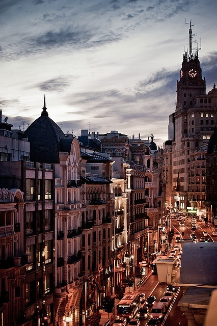 | ♕ |  Gran Vía at dusk - Madrid, Spain  | by anacondo  via fromeuropewithlove | travelingtheinterwebs