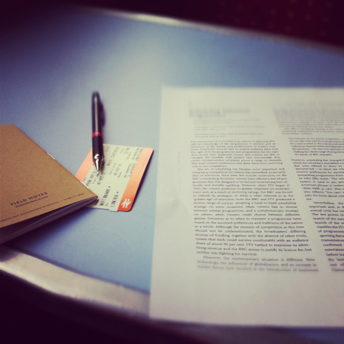 Prepping teaching notes on the train. On my way to the University of Lincoln for my first day teaching.