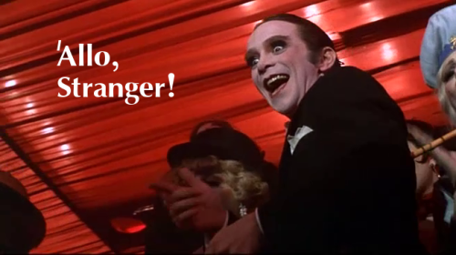 'Allo, stranger! Cabaret (1972) directed by Bob Fosse, starring Liza Minnelli, Michael York and Joel Grey.