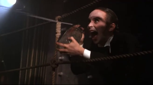 Joel Grey with the seltzer bottle.  Cabaret (1972) directed by Bob Fosse, starring Liza Minnelli, Michael York and Joel Grey.