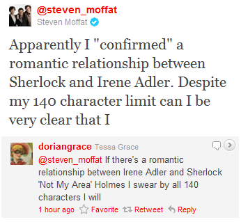 I know that I've talked about Gatiss being an internet troll, but it seems that Moffat wants his moment on the receiving end of some fist-shaking from the fans. Not that this hasn't happened before. Moffat is close on Gatiss's heels.