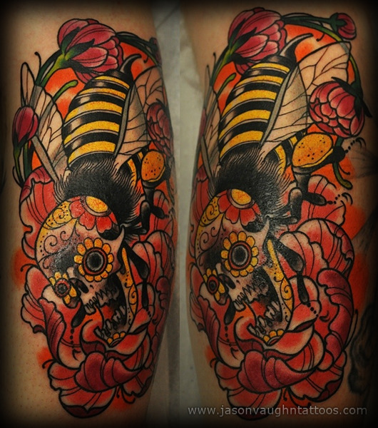 moderntattooer:  Today's piece was tattooed by Jason Vaughn of Deluxe Tattoo located in Chicago, Illinois.  You can find more of his amazing tattoo and artwork by visiting his personal website