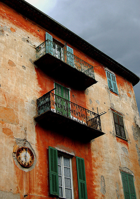 | ♕ |  Balconies and clock - Sospel, French Riviera  | by Charlottess