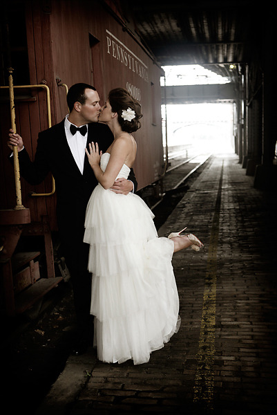 Love this wedding photo, with the vintage train (via Real Wedding: Beka & Jesse - The Bride's Cafe)