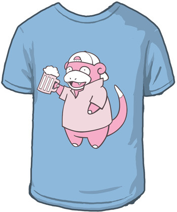 "Slowbro T-Shirt (by Sanshee)Available for $19.99 from Sanshee.com ""Slowbro:#80Bro Type Evolves from Slowpoke after getting its tail caught in discarded  six-pack rings that occasionally wash up on shore. It frequently drinks a  beverage made from fermented berries that often causes confusion. It  can use the 'Madden' ability which raises its attack power sharply."""