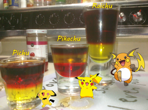"thedrunkenmoogle:  Pichu, Pikachu, Raichu (Pokemon Cocktails) Ingredients:Pichu: 1/2 oz Creme de Banana 1/2 oz pomegranate schnapps, 1/2 oz Jager Pikachu: 1/2 oz grenadine1/2 oz Creme de Banana1/2 oz Captain Morgan tattoo Raichu: 1 oz Creme de Banana 1oz Jager 1oz 100 proof Captain MorganDirections: For the Pichu: pour the the creme de banana, then layer the pomegranate schnapps, then layer the Jager on top.Pikachu: pour the grenadine, next layer the creme de banana, then layer the captain tattoo on top.Raichu: pour the creme de banana, layer the Jager then layer the captain 100 proof on top.  ""Pi Pikachu. Pika Pikachu!"" -Pikachu (Drink created and photographed by Josh K.)"