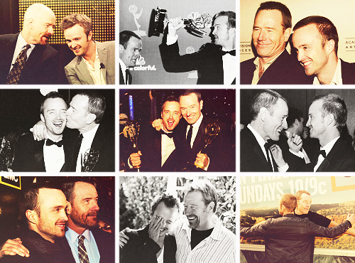 "liveinplastic:  themed party; 32. bromances ► Aaron Paul & Bryan Cranston  ""Bryan Cranston, to work with you every single day is a dream. I love you brother, you have no idea."" —Aaron Paul during his 2010 Emmy win speech."