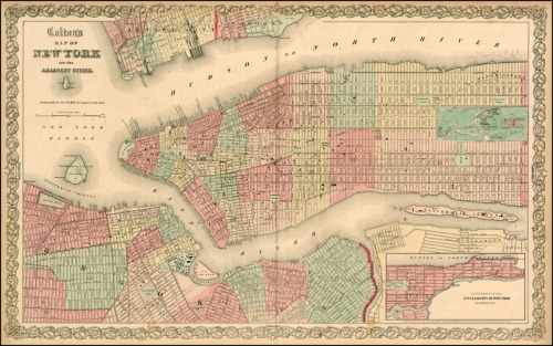 tracingtheirroots:    Title: Colton's Map of New York And the Adjacent Cities Map Maker: Joseph Hutchins Colton Place / Date: New York / 1865 Coloring: Hand Colored Size: 25 x 15.5 inches  Description: Detailed map of the City extending north to 87th Street. Shows parks, streets, wards, buildings, rail lines, wharfs, and many other features. Inset shows Harlem. Also shows much of Brooklyn, Hoboken and Jersey City. A nice large format map. Nice detail in Central Park. JH Colton was one of the pre-eminent American map publishing firms in the mid-19th Century.