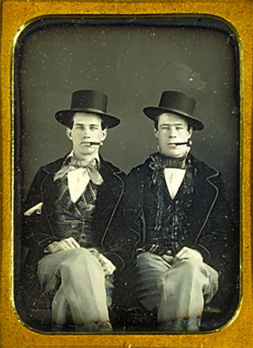 mydaguerreotypeboyfriend:  James Rossi and William Bennett, equestrian performers. Double the boyfriend, double the circus hijinks. Date unknown. (Harvard Theatre Collection)