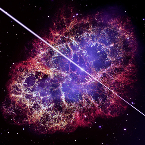"cwnl:  'Jaw-Dropping!' Crab Nebula's Powerful Beams Shock Astronomers An artist's conception of the pulsar at the center of the Crab Nebula, with a Hubble Space Telescope photo of the nebula in the background. Researchers using the VERITAS telescope array have discovered pulses of high-energy gamma rays coming from this object. Image Credit: David A. Aguilar / NASA / ESA When astronomers detected intense radiation pumping out of the Crab Nebula, one of the most studied objects in space, at higher energies than anyone thought possible, they were nothing short of stunned. The inexplicably powerful gamma-rays came from the very heart of the Crab Nebula, where an extreme object called a pulsar resides. ""It was totally not expected — it was absolutely jaw-dropping,"" Andrew McCann, a Ph.D. candidate at McGill University in Montreal, Canada, and a co-author of the new study, told SPACE.com. ""This is one of the hottest targets in the sky, so people have been looking at the Crab Nebula for a long time. Now there's a twist in the tale. High-energy rays coming from the nebula are well-known, but coming from the pulsar is something nobody expected."" Read More"