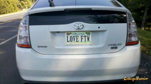 Love FTW License Plate They say it conquers all.