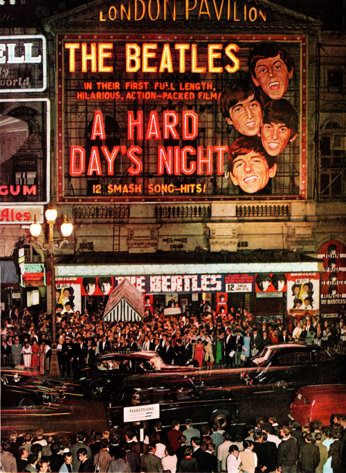 "what-about-the-beatles:  ""A Hard Day's Night"" premiere, London. 1964."