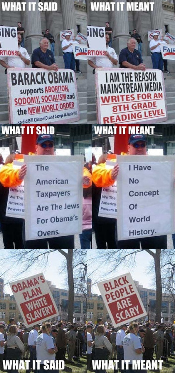 derpghost:  Tea party protest signs translated (via)