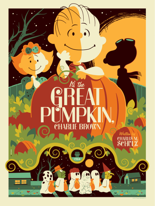 It's the Great Pumpkin, Charlie Brown - by Tom Whalen Get 'em while they're hot! This 8-colour screen print poster is 18x24 and goes for $50.