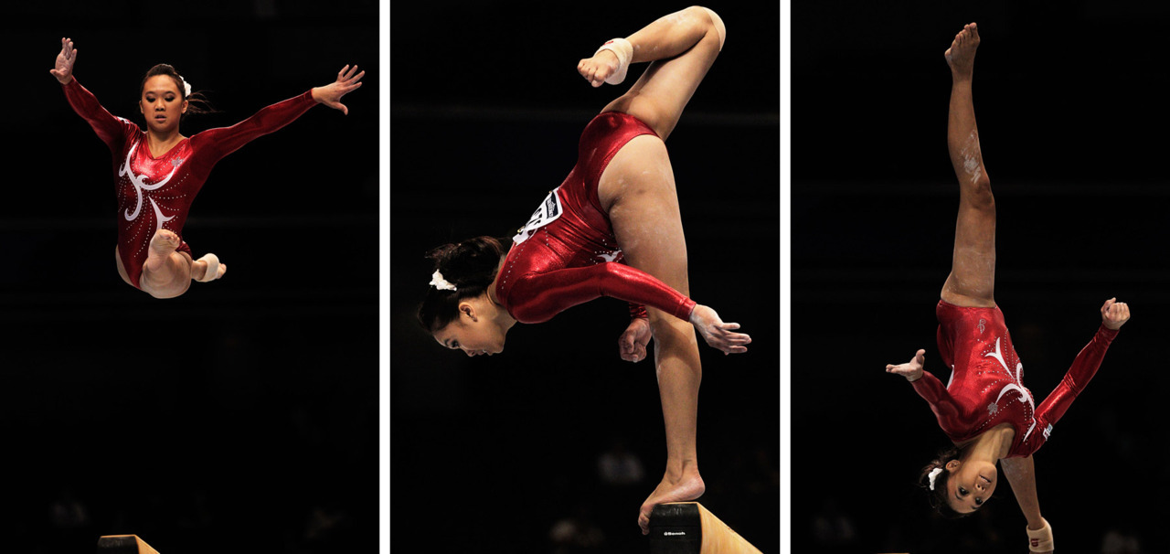 nationalpostsports:  Christine Lee of Canada performs on the Beam aparatus during qualification at day one of the Artistic Gymnastics World Championships in Tokyo. Adam Pretty/Getty Images