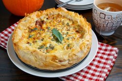 boyfriendreplacement:  Roasted Pumpkin Quiche with Caramelized Onions, Gorgonzola and Sage Recipe