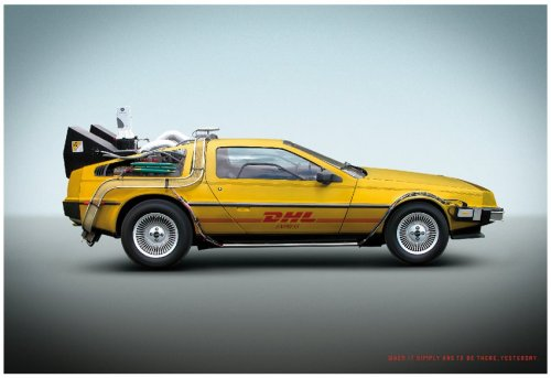 "melodicbread:  DHL AD caption reads: ""when it simply needs to be there,yesterday"""
