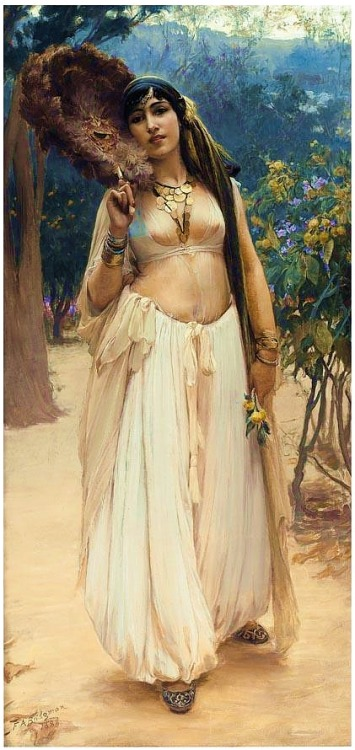 "beautifuldavinci:  Frederick Arthur Bridgman (1847 –1928) was an American artist known for his paintings of ""Orientalist"" subjects. Born in Tuskegee, Alabama, he was the son of a physician. He began as a draughtsman in New York City, for the American Bank Note Company in 1864–1865, and studied art in the same years at the Brooklyn Art Association and at the National Academy of Design. He went to Paris in 1866, and in 1867 he entered the studio of the noted academic painter Jean-Léon Gérôme (1824–1904), where he was deeply influenced by Gérôme's precise draftsmanship, smooth finishes, and concern for Middle-Eastern themes. Thereafter, Paris became his headquarters."