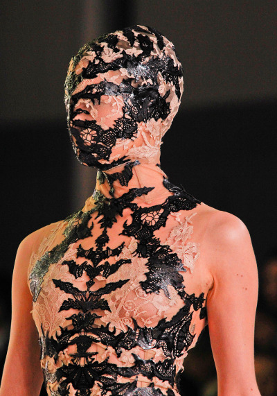 Alexander McQueen Spring RTW 2012 Paris Fashion Week  I don't know if I would wear this under normal/everyday circumstances but it's eerily beautiful and dark.