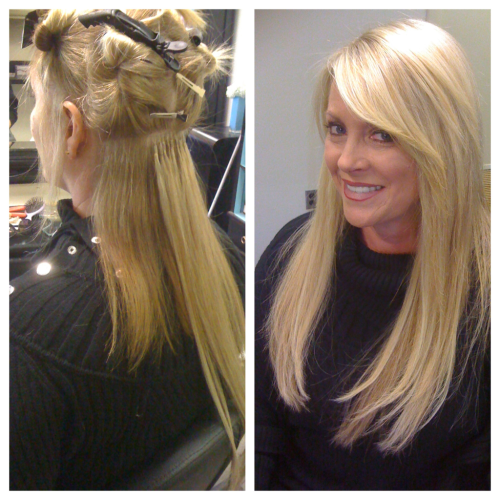 Extension Day 5: My lovely Mother, Karen! A during photo/after..  Client Wants: experiment with longer, full hair!  SoCap Solution: 100 strands of hair in 4 different shades of blonde.   I have one hot Momma!