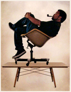 chairstalker:  Ice Cube recreates an old Eames photo for the forthcoming Ice Cube Celebrates Eames, via