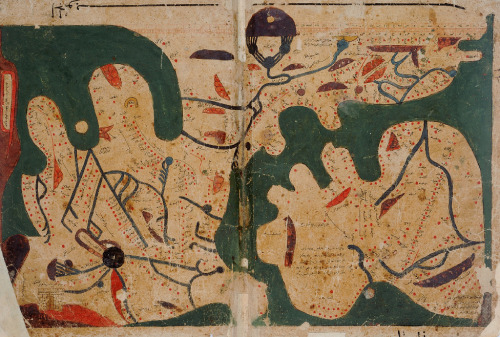 slowpilgrim:  An Islamic world map. This is part of an anonymous treatise, entitled The Book of Curiosities, and is unlike any other recorded ancient or medieval map. At the top there is a carefully executed graphic scale, over which the Mountain of the Moon, thought to be the source of the River Nile, has been painted. The land-mass to the lower right is Europe, including a very large Iberian peninsula to its right. At the left-hand margin of the map, a brown land-mass has an inscription outlined in red reading 'Island of the Jewel, and its mountains encircle it like a basket'. This island, usually interpreted as Indonesia or Formosa, was considered to be the easternmost limit of the inhabitable world. The map also depicts, in the lower left corner, the legendary barrier built by Alexander the Great to keep out Gog and Magog, the mythical enemies of civilization who dwelt in the far north-east of the inhabitable world.