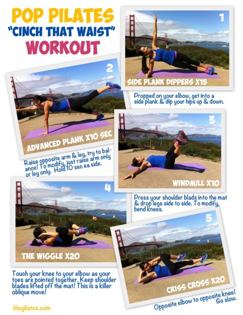 "blogilates:  ""Cinch that Waist"" Workout! Try it 4x through AT LEAST. Have fun. Do you like my Golden Gate background?"
